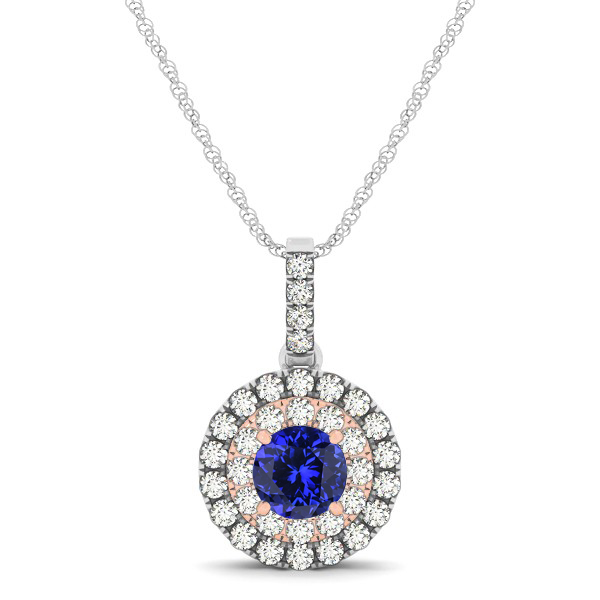 Dual Halo Round Tanzanite Pendant Necklace