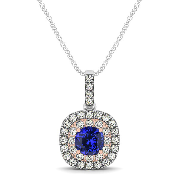 Cushion Shaped Halo Necklace with Round Tanzanite Pendant