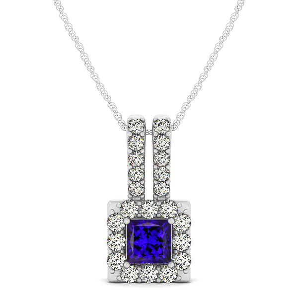 Contemporary Square Halo Necklace Princess Cut Tanzanite