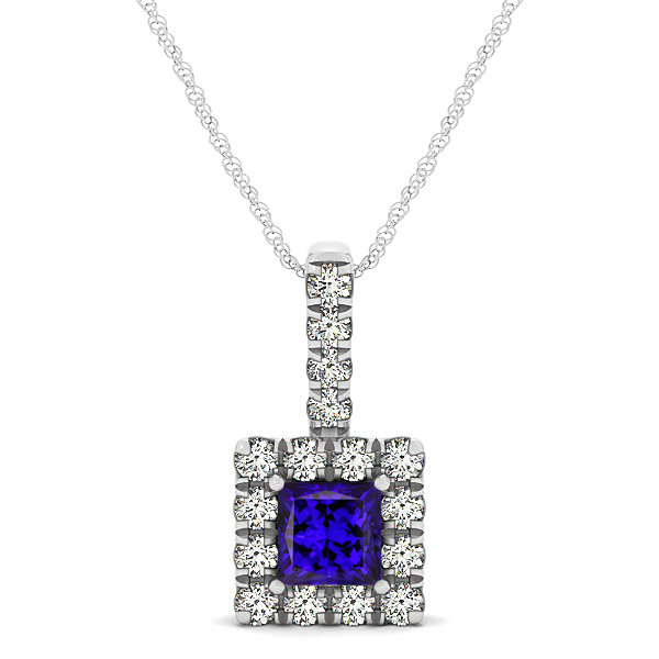 Upscale Square Drop Halo Necklace with Princess Cut Tanzanite