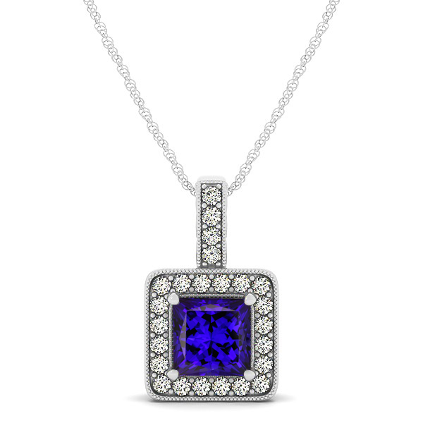 Square Tanzanite Halo Necklace in Gold or Sterling Silver