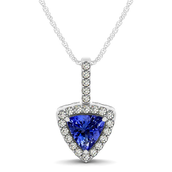 Beautiful Trillion Cut Tanzanite Halo Necklace