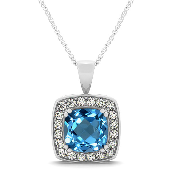 Attractive Swiss Blue Cushion Topaz Halo Necklace