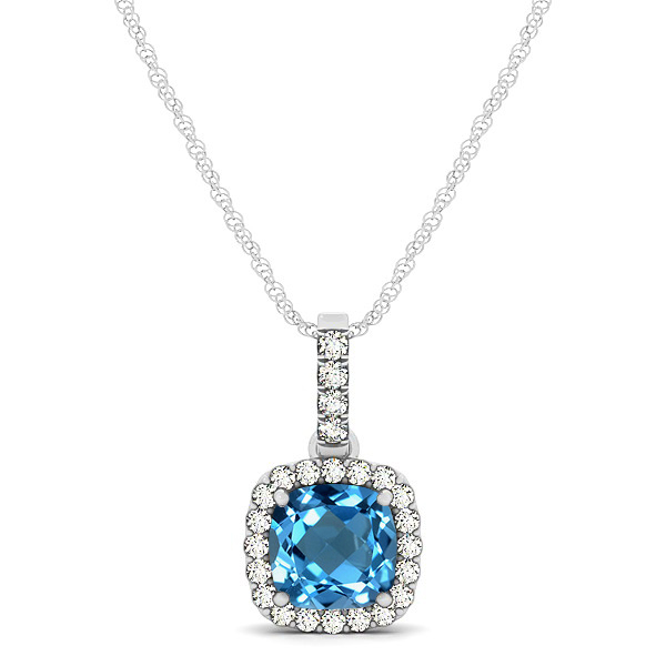Elegant Cushion Topaz Halo Pendant Necklace
