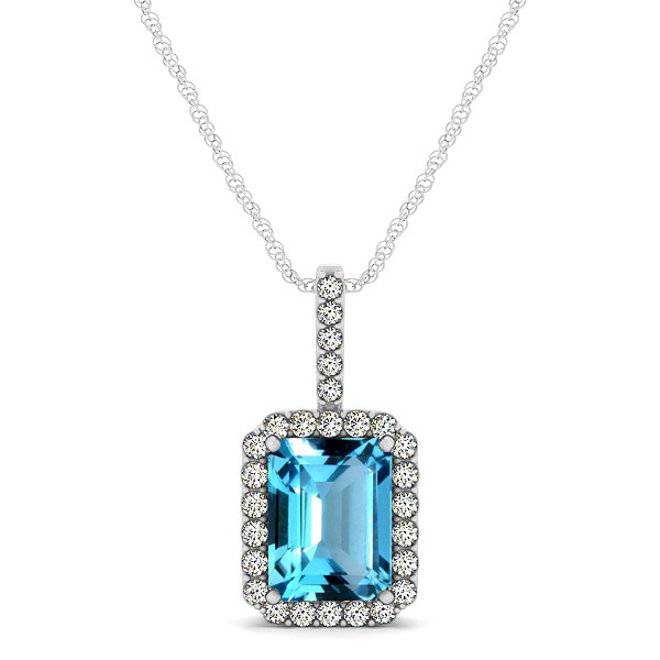 Halo Emerald Cut Topaz Necklace Classic Design