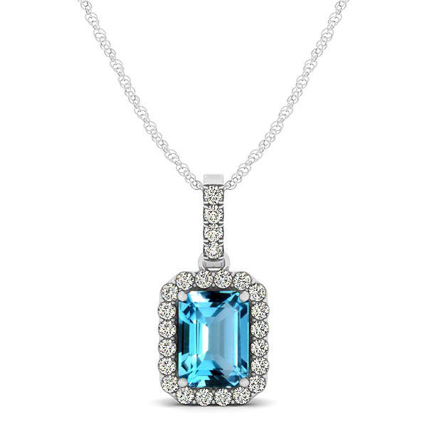 Classic Emerald Cut Topaz Necklace with Halo Pendant