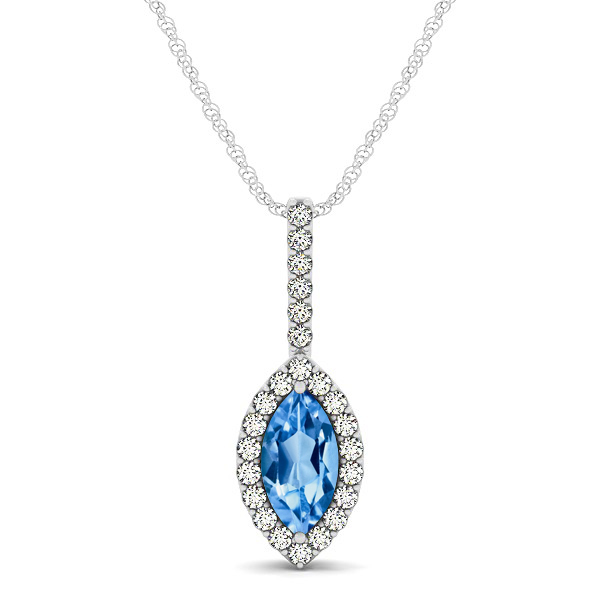 Fashionable Halo Marquise Cut Topaz Necklace