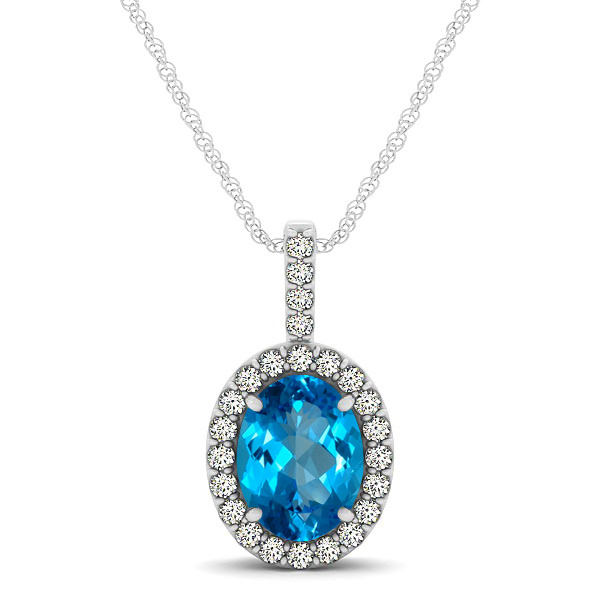 Classic Drop Halo Necklace with Oval AAA Topaz Pendant