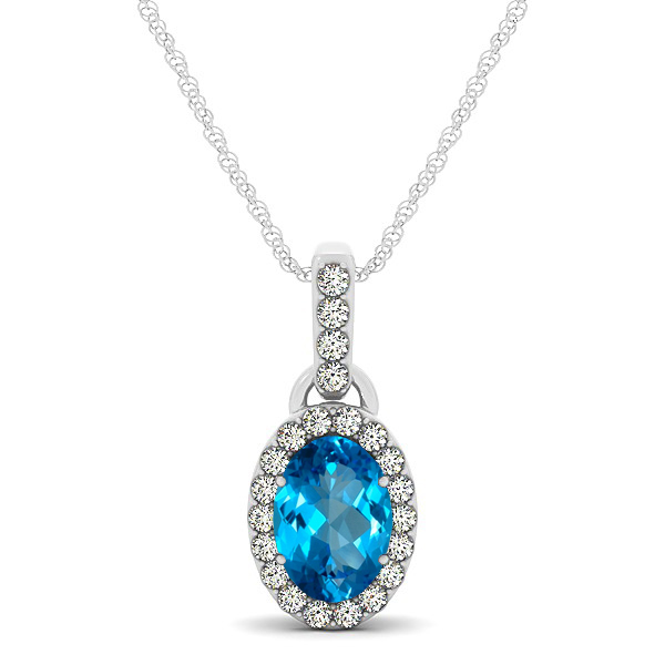 Lovely Halo Oval Topaz Necklace in Gold, Silver or Platinum
