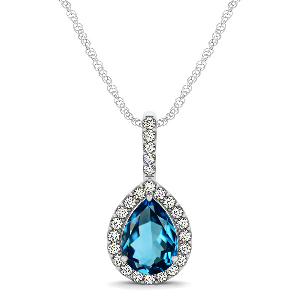 Classic Drop Necklace with Pear Cut Topaz Pendant