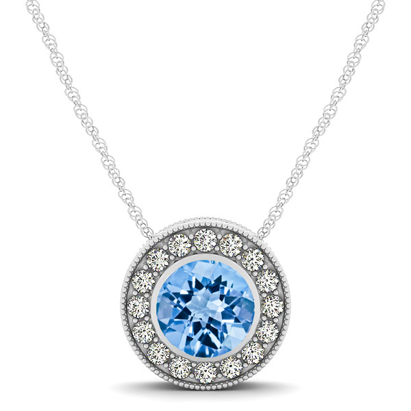 Halo Topaz Necklace with Round Pendant
