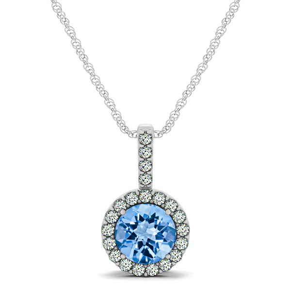 Gorgeous Round Topaz Halo Necklace
