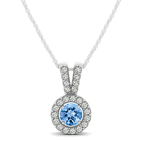 Avant-Garde Round Halo Topaz Necklace