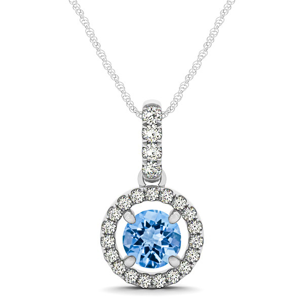 Extraordinary Floating Round Topaz Halo Drop Necklace