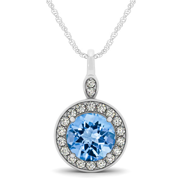 Halo Drop Round Cut Topaz Necklace