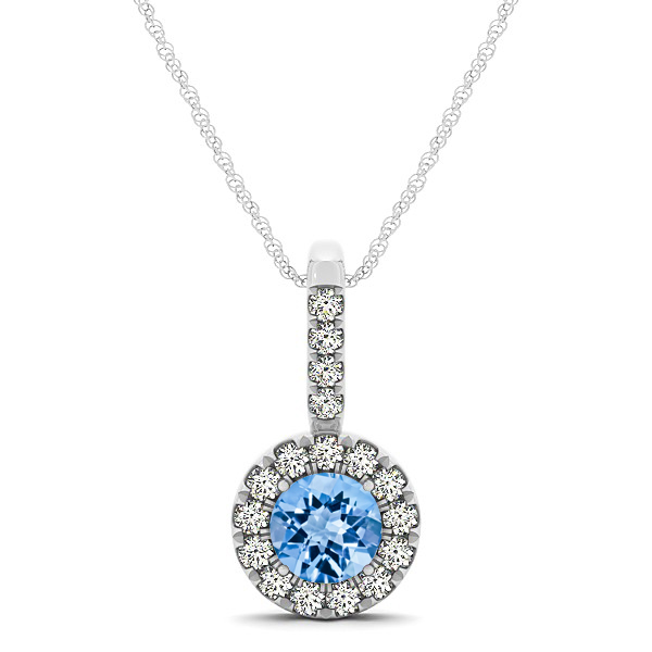 Round Cut Topaz Halo Pendant & Necklace