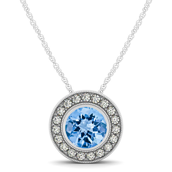 Classy Halo Necklace with Round Cut Topaz Pendant