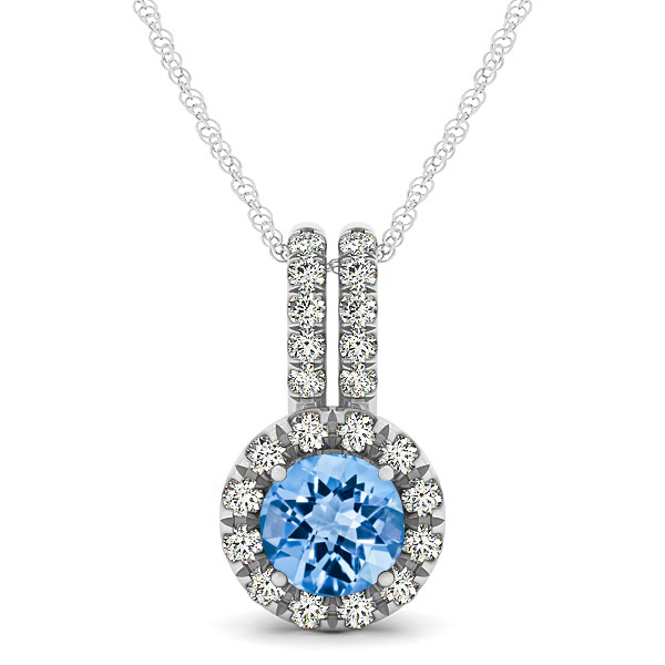 Luxury Halo Drop Necklace with Round Cut Topaz Gemstone