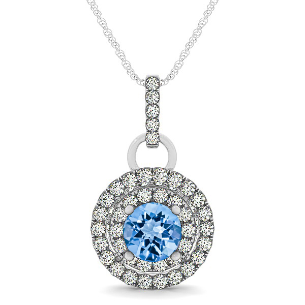 Royal Dual Halo Topaz Necklace with Circle Pendant
