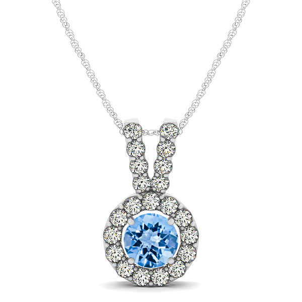 Classique V Neck Halo Necklace with Round Cut Topaz