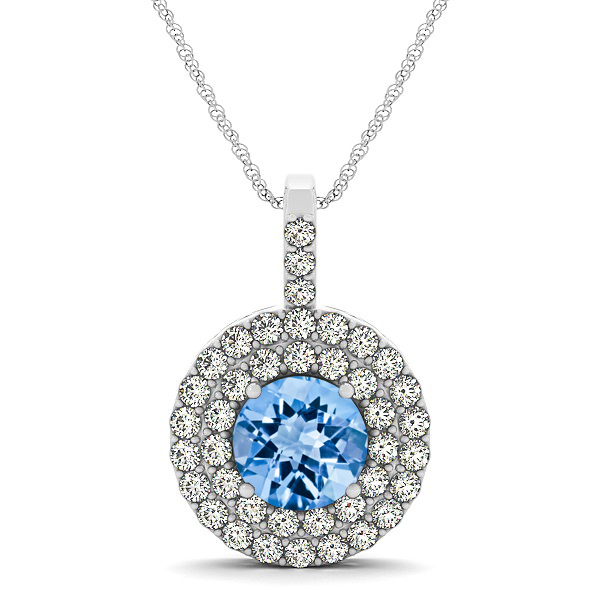 Designer Circle Double Halo Topaz Necklace
