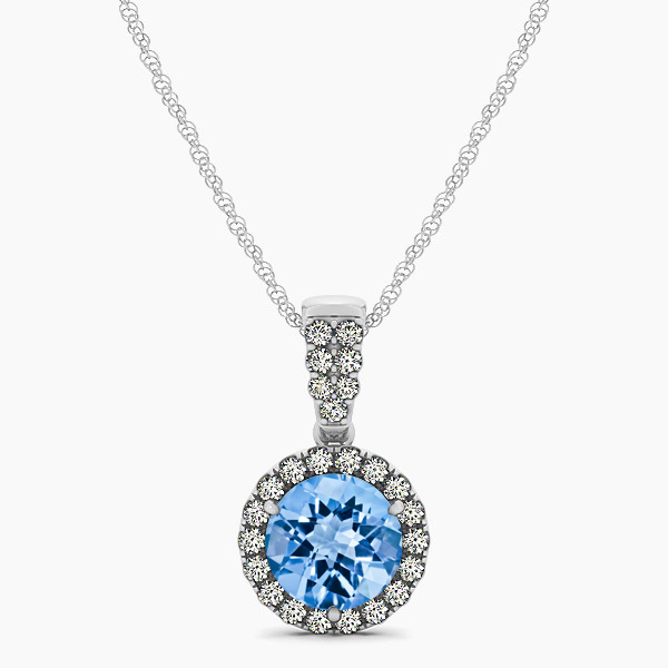 Gorgeous Drop Halo Necklace Round Cut Topaz VS1