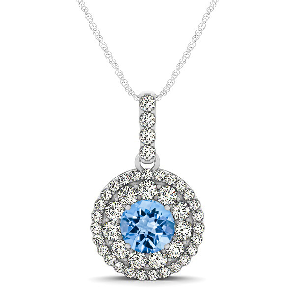 Round Topaz Necklace with Twin Halo Pendant
