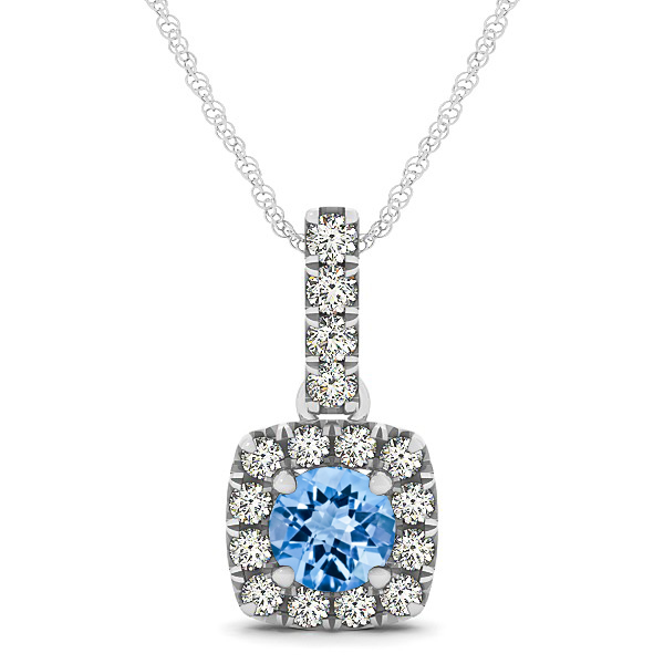 Peculiar Halo Side Stone Round Topaz Drop Necklace