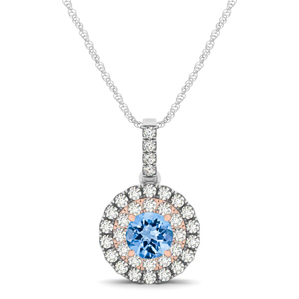 Dual Halo Round Topaz Pendant Necklace
