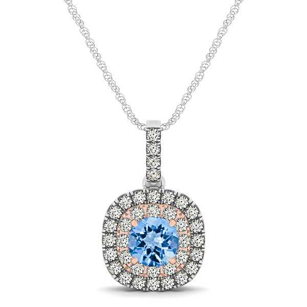 Cushion Shaped Halo Necklace with Round Topaz Pendant