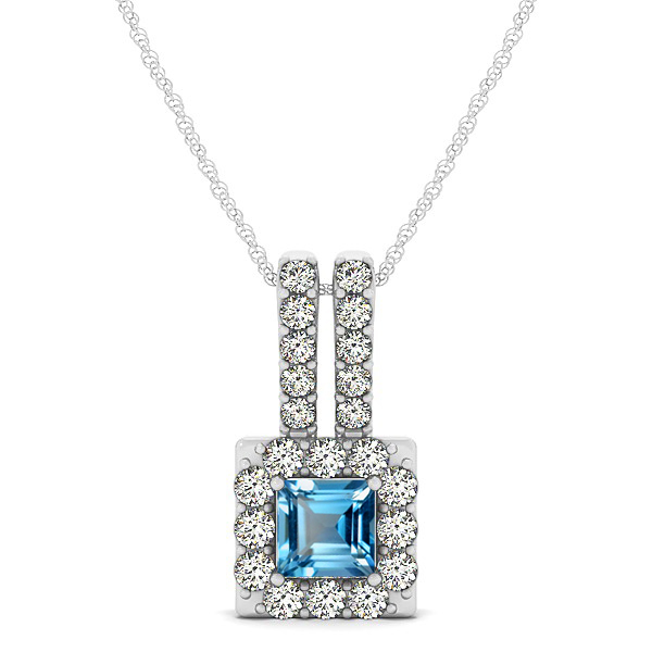 Contemporary Square Halo Necklace Princess Cut Topaz