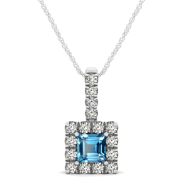 Upscale Square Drop Halo Necklace with Princess Cut Topaz