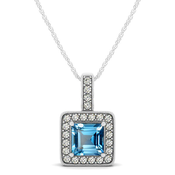 Square Topaz Halo Necklace in Gold or Sterling Silver