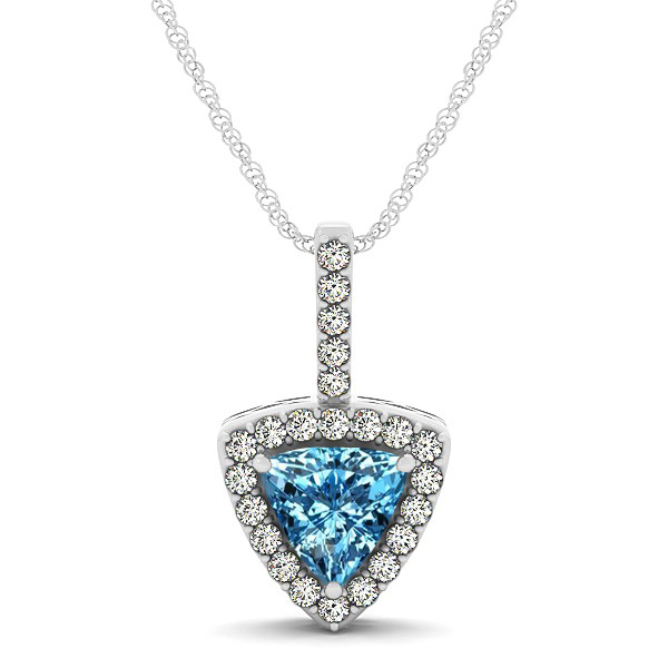 Beautiful Trillion Cut Topaz Halo Necklace