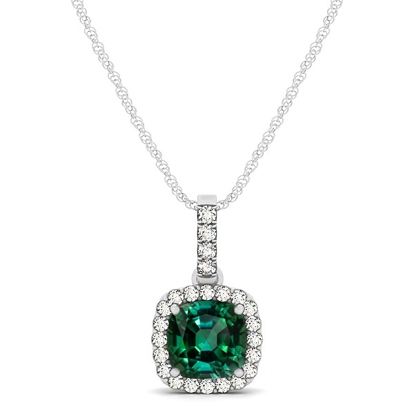 Elegant Cushion Tourmaline Halo Pendant Necklace
