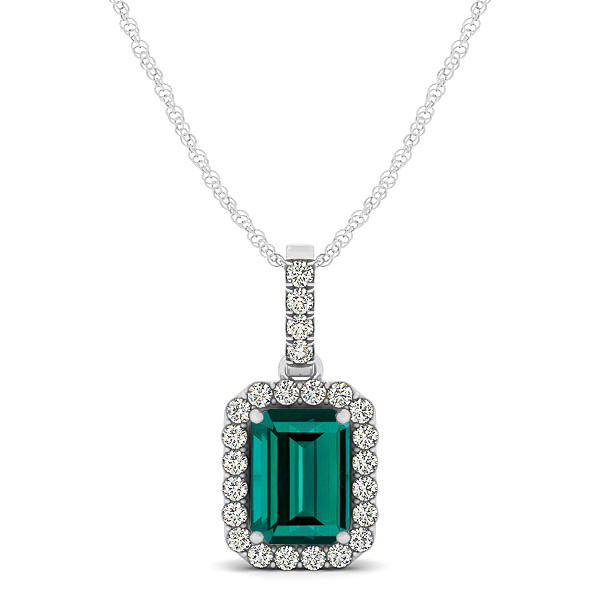 Classic Emerald Cut Tourmaline Necklace with Halo Pendant