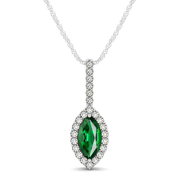 Fashionable Halo Marquise Cut Tourmaline Necklace