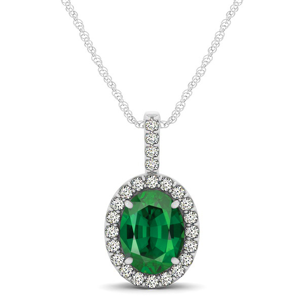 Classic Drop Halo Necklace with Oval AAA Tourmaline Pendant