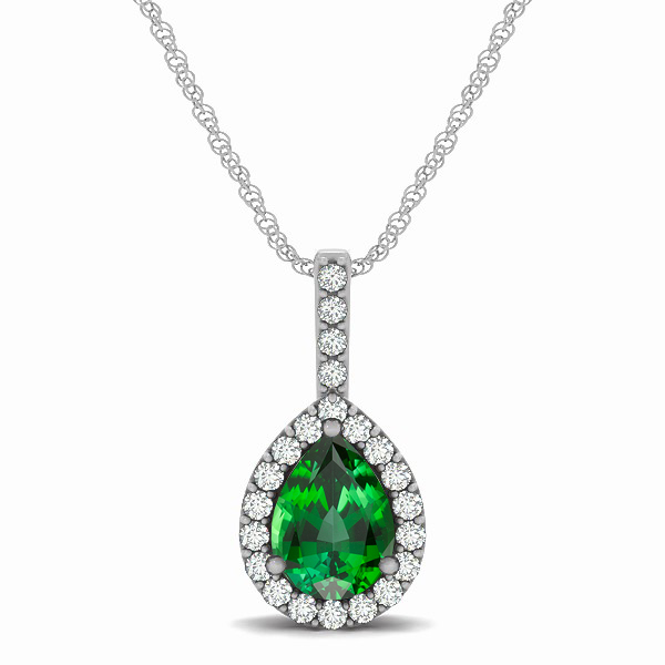 Exclusive Pear Halo Tourmaline Pendant Necklace