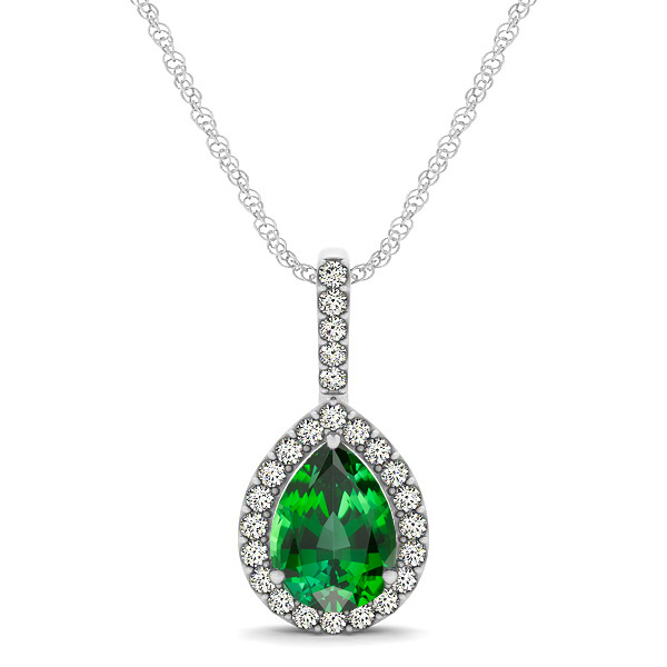 Classic Drop Necklace with Pear Cut Tourmaline Pendant