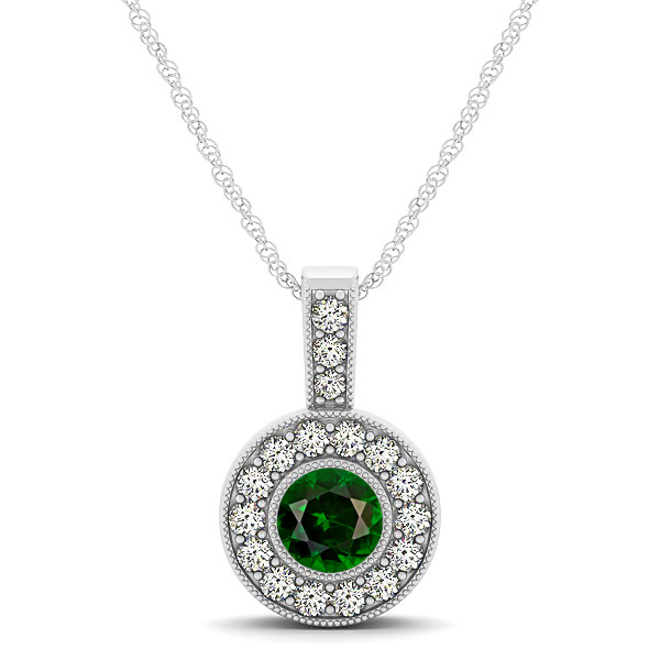 Dark Green AAA Round Tourmaline Vintage Halo Drop Necklace