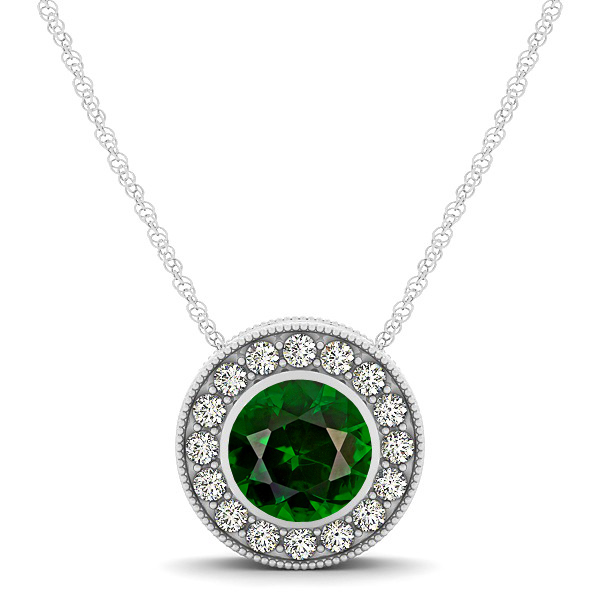 Halo Tourmaline Necklace with Round Pendant