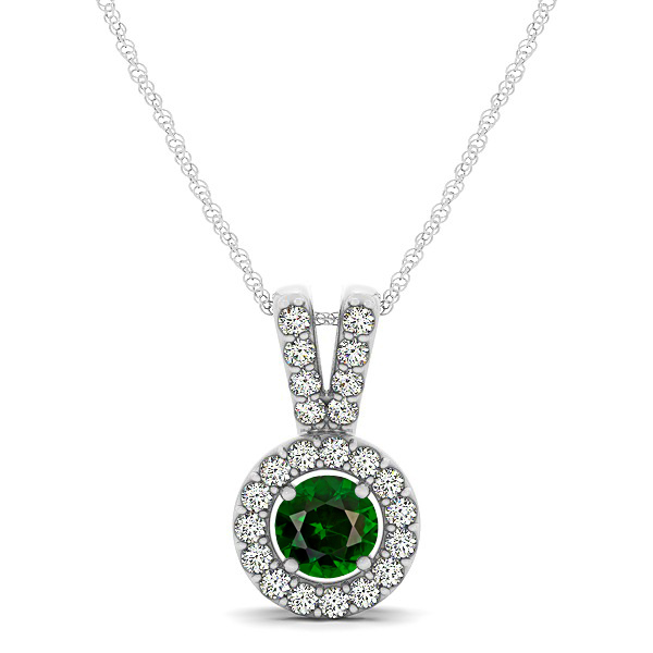 Avant-Garde Round Halo Tourmaline Necklace