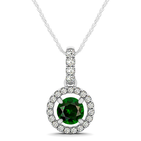 Extraordinary Floating Round Tourmaline Halo Drop Necklace