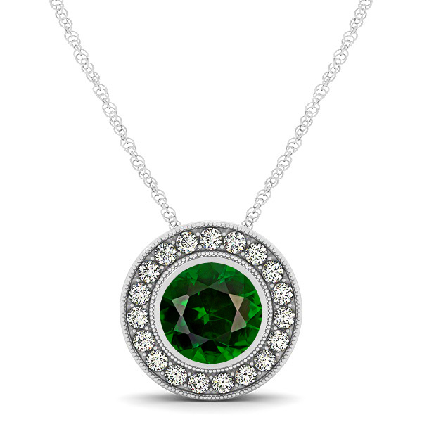 Classy Halo Necklace with Round Cut Tourmaline Pendant