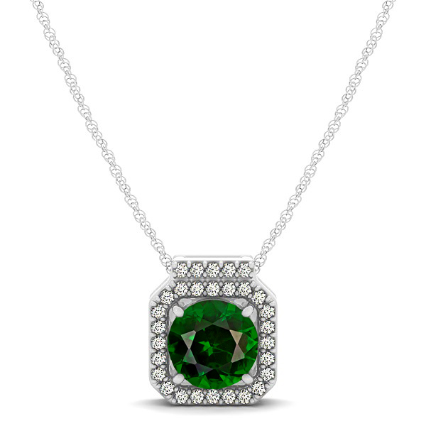 Square Halo Necklace with Round Cut Tourmaline Pendant