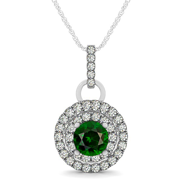 Royal Dual Halo Tourmaline Necklace with Circle Pendant