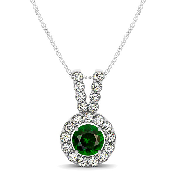 Classique V Neck Halo Necklace with Round Cut Tourmaline