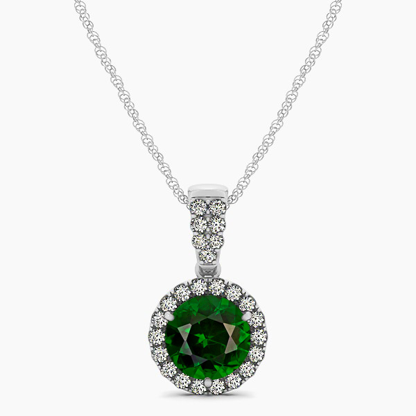 Gorgeous Drop Halo Necklace Round Cut Tourmaline VS1