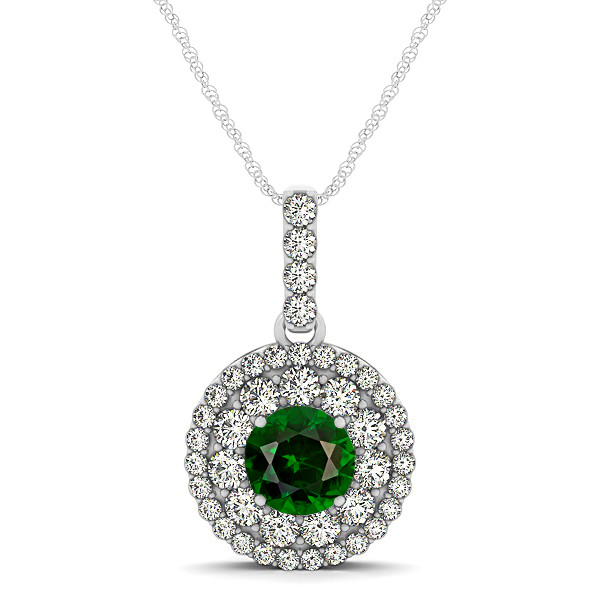 Round Tourmaline Necklace with Twin Halo Pendant